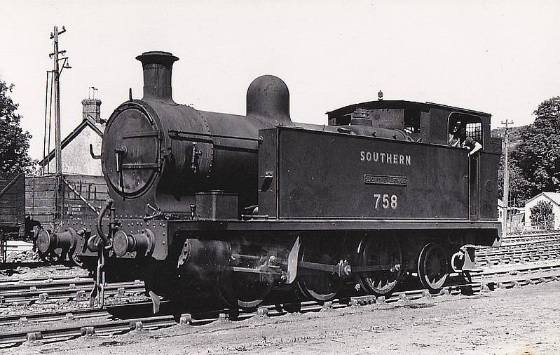 Class 757 - 758 LORD ST LEVEN - PD&SWJR 0-6-2T - built 1907 by Hawthorn Leslie & Co. as PD&SWJR No.5 - 1923 to SR No.758, 11/50 to BR No.30758 - 12/56 withdrawn from 71A Eastleigh - seen here at Callington, 10/49.