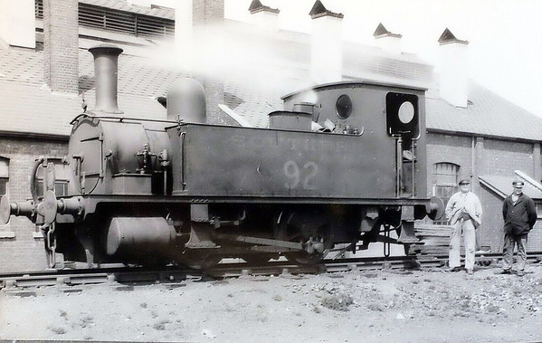 Class B4 - 92 - Adams LSWR 0-4-0T - built 12/1892 by Nine Elms Works - 1948 to BR No.30092 (not applied) - 04/49 withdrawn from 71B Bournemouth - seen here at Plymouth Friary in 1935.