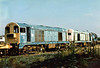 20177 and 20154 dumped in the Training Compound at Toton Depot, 13/08/96. 20177 was withdrawn 02/92 and is now preserved whilst 20154 was withdrawn 04/93 and is also preserved.