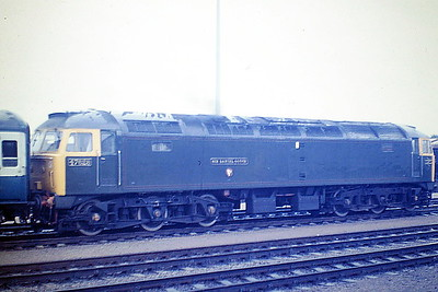 47628 SIR DANIEL GOOCH passes through Cambridge Station on ECS, 02/08/85. If this is not the most turgid colour anyone could ever paint a loco................. All I can say is thank God for Corporate Blue! 47628 was built by Crewe Works in 1965 as D1663 and was renumbered to 47078 in February 1974. In February 1978 47078 'SIR DANIEL GOOCH' collided with derailed tankers on a Southampton to Birmingham freight at Appleford north of Didcot. The non-driver side of the No.1 end cab was badly damaged and the loco was stored for a time at Oxford before being removed to Crewe for repairs. In January 1985 it was one of four locos given a complete GWR makeover in connection with GWR 150 and it was ETHed and renumbered to 47628. It was withdrawn in September 1999 and scrapped in March 2006.