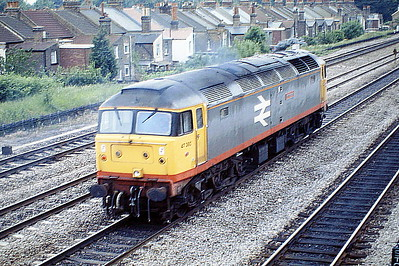 47380 IMMINGHAM passes West Ealing Down light engine, 02/06/88. 47380 was built by Brush Falcon Works in 1965 as D1899 and was renumbered in February 1974. It was withdrawn in September 1992 and scrapped in October 1994.