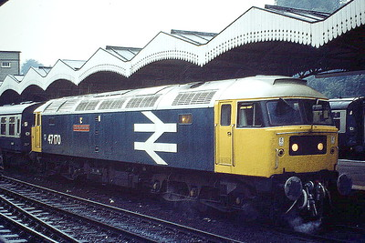 47170 COUNTY OF NORFOLK draws into Ipswich Station on a Norwich train, 04/10/80. Note the steam under the front buffer beam. 47170 was built by Brush Falcon Works in 1964 as D1765 and renumbered in March 1974. In February 1981 it was ETHed and renumbered to 47582 and in April 1995 it was fitted for multiple working and became 47733. It was withdrawn in March 2004 and scrapped in May 2008.