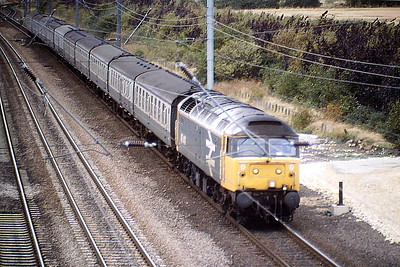 47441 passes Werrington Junction on 1L86 SSO Leeds-Yarmouth on the Up Slow, 24/09/88, last Saturday of the Summer Timetable. 47441 was built by Crewe Works in 1964 as D1557 and was renumbered in February 1974. It was withdrawn in March 1994 and scrapped in June 1997.