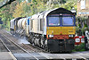 66303 leads 66431 on the Norwich - Acle - Norwich stage of 3S01 Stowmarket - Stowmarket RHTT at Brundall, 03/11/16.