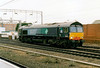 66408, in DRS Compass livery, heads south for Daventry at Rugby, 22/12/04.