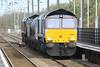 66427 leads 66425 south through Downham Market Station on the Kings Lynn - Norwich leg of 3S01 Stowmarket - Stowmarket RHTT, 11/11/15.