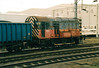 08742, in the remains of RES livery, shunts loaded coal wagons at Rugby, 17/03/95 - withdrawn 07/10 from Toton Depot.