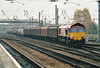 66009 approaches Doncaster Station on 6D45 Doncaster - Immingham Enterprise, 16/11/01.