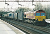 66007 passes through Northampton Station on 4G12 Wembley Yard - Hams Hall intermodal, 17/02/99.