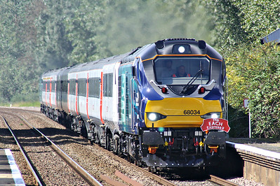 68034 approaches Lakenheath Station on 1G02 Ely - Norwich 'EACH Express 2', 68001 EVOLUTION on the rear, first and last Class 68's, 16/09/17.