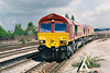 66005 and 66001, looking rather dusty, approach Newport returning from the EWS Toton Depot Open Day, 31/08/98.