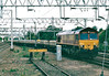 66006 heads south on the slow line with a train of sleepers for the Leicester line, 14/08/02,