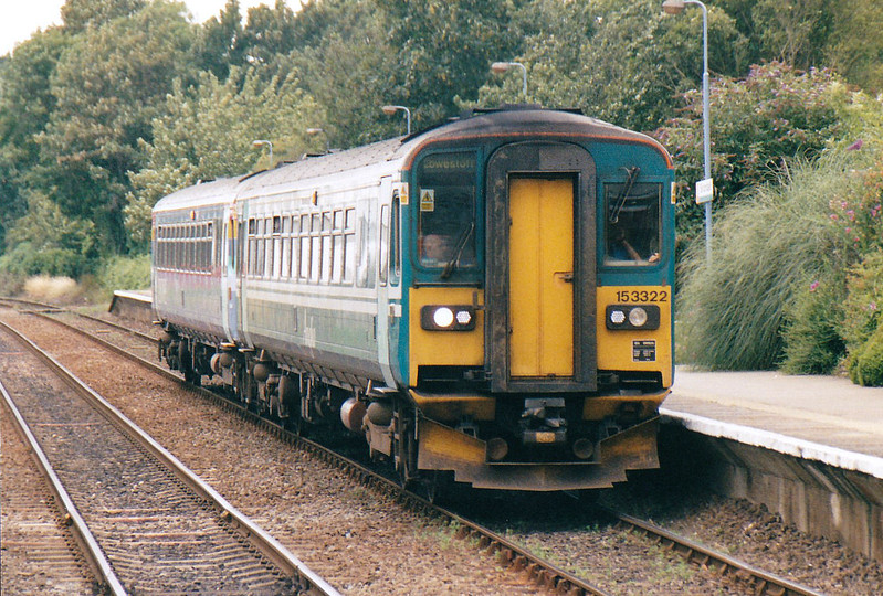 Class 153 322/153 314 stand at Brundall on a Norwich - Lowestoft train,