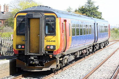 Class 156 498 passes Hubberts Bridge on 2S17 1245 Nottingham - Skegness, 26/04/21.