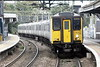 Class 317 885, c/w 317 511, arrives at Bishops Stortford on 2H32 1328 Liverpool Street - Cambridge, 13/10/21.