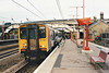 Class 317 369 stops at Huntingdon on a Peterborough - Kings Cross stopping train, 17/01/98.