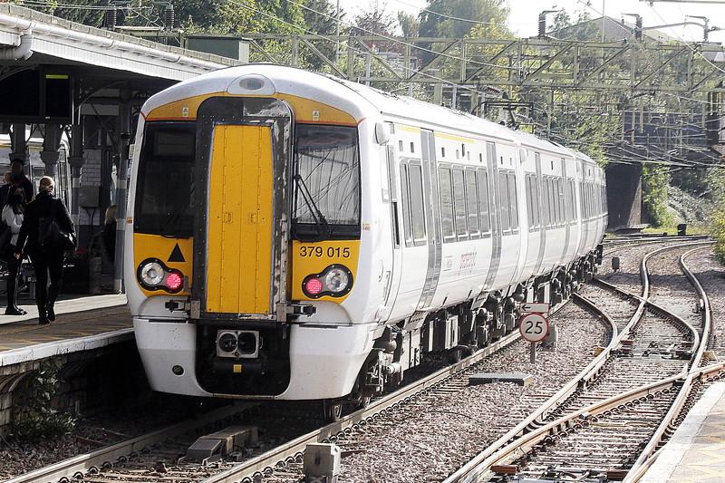 Class 379 015 passes Bishops Stortford on 5H72 1155 Cambridge North - Liverpool Street ECS, 13/10/21.