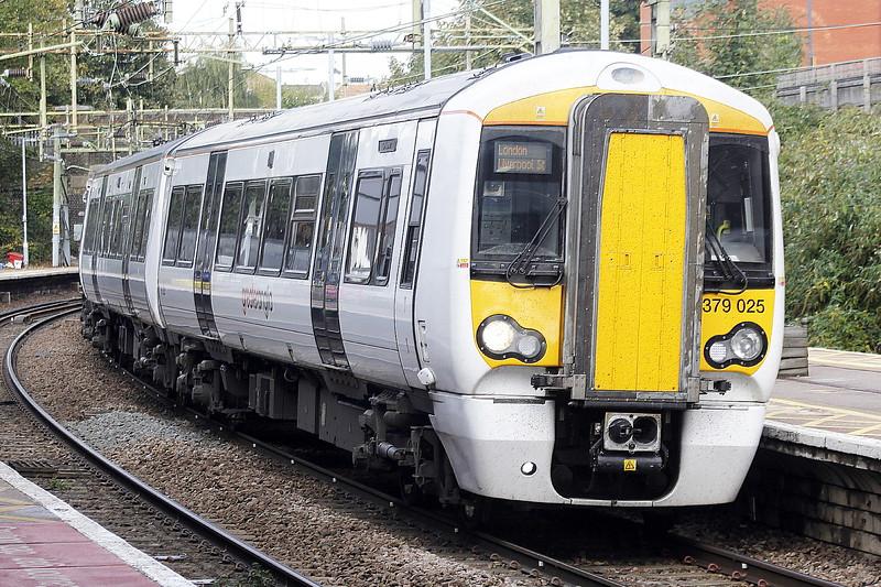 Class 379 025 arrives at Bishops Stortford on 2H27 1113 Cambridge North - Liverpool Street, 13/10/21.