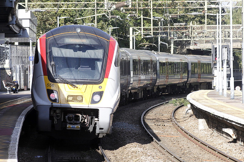 Class 720 556 departs Bishops Stortford on 2H24 1128 Liverpool Street - Cambridge North, 13/10/21.