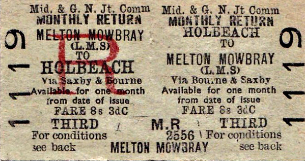 M&GN TICKET - HOLBEACH - Third Class Monthly Return to Melton Mowbray (LMS), via Bourne & Saxby - fare 8s 3d. This would be Melton Mowbray Town rather than North, which would entail a much more complicated journey.