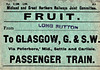 M&GN FRUIT LABEL - From Long Sutton to Glasgow St Enoch, quite a journey for soft fruit, via Peterborough, the Midland Railway and the Settle and Carlisle - not the quickest route either.