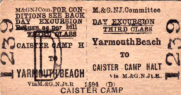 M&GN TICKET - YARMOUTH BEACH - Third Class Day Excursion Return to Caister Camp Halt. This was a small unstaffed station opened in July 1933 to serve the nearby holiday camp, only open in summer and served by trains with conductor/guards. Through excursion trains served the local holiday camp via the little halt in summer also. It closed in September 1939 for the duration of the War and was only re-opened with the advent of BR in June 1948. The last trains stopped there in September 1958.