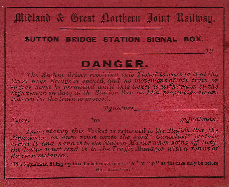 M&GN DOCUMENT - SUTTON BRIDGE STATION SIGNAL BOX - Warning card issued to the driver of a train when the bridge was opened for shipping.