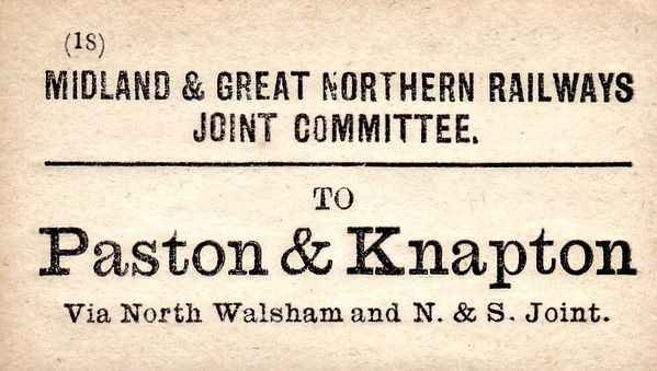 M&GN LUGGAGE/PARCEL LABEL - PASTON & KNAPTON - via North Walsham and the N&S Joint.