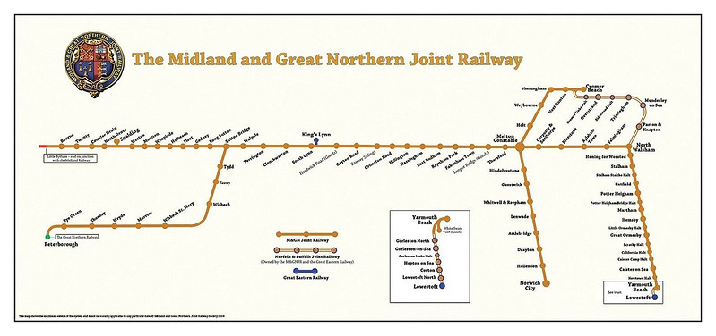An M&GNJR System Diagram showing the extensive and meandering, mainly single track, empire at fullest extent.