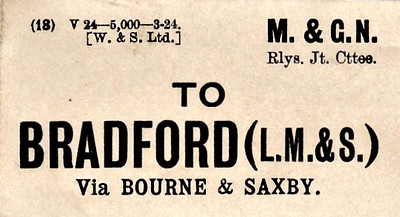 M&GN LUGGAGE/PARCEL LABEL - BRADFORD (LM&S) - via Bourne and Saxby - print date 03/24 so just after Grouping.