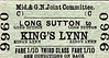 M&GN TICKET - LONG SUTTON - Third Class Single to Kings Lynn - fare 1s 10d.