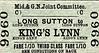 M&GN TICKET - LONG SUTTON - Third Class Single to Kings Lynn - fare 1s 10d.
