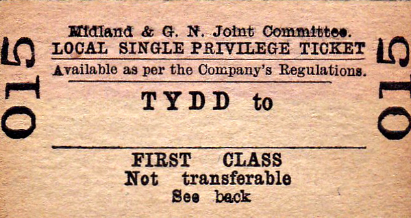 M&GN TICKET - TYDD - First Class Local Privilege Single to Blank Destination - 'Local' in this instance would mean within the M&GN system. I think this is quite an old ticket.