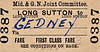 M&GN TICKET - LONG SUTTON - First Class Child Single to Gedney - fare 3d - dated July 24th, 1958.