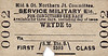 M&GN TICKET - WRYDE - First Class Military Service Single to Blank Destination. Note the low number. Wryde had very few passengers of any description, never mind military personnel on duty.