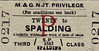M&GN TICKET - TWENTY - Third Class Privilege Single to Spalding - these tickets were available to families of railway employees.
