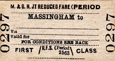 M&GN TICKET - MASSINGHAM - First Class Reduced Fare Single.
