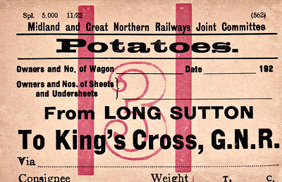 M&GN WAGON LABEL - LONG SUTTON to KINGS CROSS - Blank label for the conveyance of potatoes from Long Sutton to Kings Cross, evidently a sufficiently regular traffic to make it economical to print 5000 of these labels in November 1922.