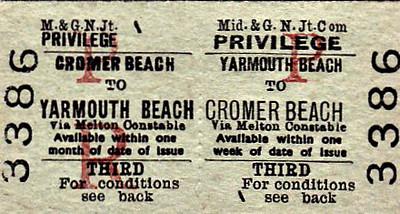 M&GN TICKET - YARMOUTH BEACH - Third Class Privilege Return to Cromer Beach, via Melton Constable.