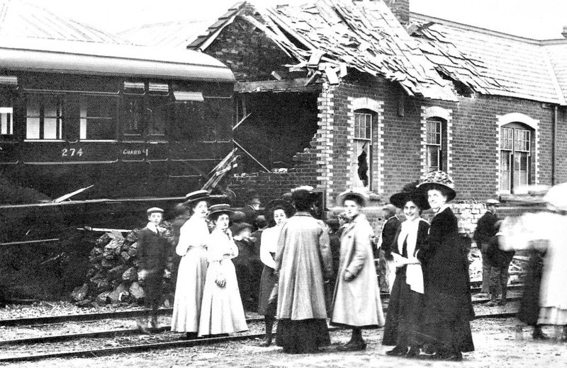 SHERINGHAM - The result of some sloppy shunting at Sheringham in July 1909, obviously a matter of great interest to the local ladies.