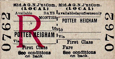 M&GN TICKET - POTTER HEIGHAM - First Class Local Return - notice how the return half is available for a variable period of time.