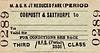 M&GN TICKET - CORPUSTY & SAXTHORPE - Third Class Reduced Fare Single to Blank Destination.