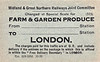 M&GN FARM & GARDEN PRODUCE LABEL - From various points of origin to London, conveyed by passenger train, usually via Peterborough North, because speed was a priority - print date October 1929.