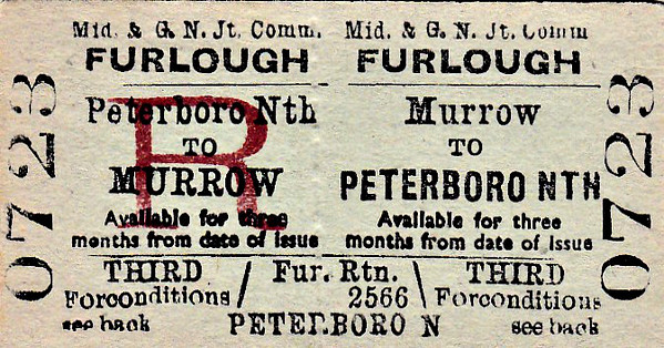 M&GN TICKET - MURROW - Third Class Furlough Return to Peterborough North.