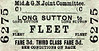 M&GN TICKET - LONG SUTTON - Third Class Single to Fleet, fare 3d - dated September 23rd, 1958.