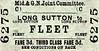 M&GN TICKET - LONG SUTTON - Third Class Single to Fleet, fare 3d - dated September 23rd, 1958.