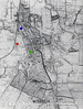 WISBECH - This map is taken from a 1947 guide book to Wisbech. The hatched areas are set aside for industrial development. The railway lines have conveniently all been drawn over. The red spot is to the right of Wisbech (M&GN) Station, the blue spot is to the right of the goods yard and the green spot shows where the harbour line curves away from the river and into the Old Market, ending up only about 250 yards from the station. All of the other lines shown are the old GER lines and the Wisbech & Upwell Tramway (under the 'U' of 'BUILD').