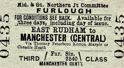 M&GN TICKET - EAST RUDHAM - Third Class Furlough Single to Manchester Central, via Thorney, Peterborough, Ketton and Marple or Cheadle Heath.