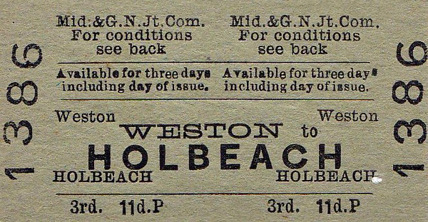 M&GN TICKET - WESTON - Third Class Single to Holbeach, fare 11d.