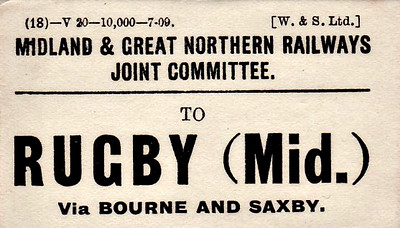 M&GN LUGGAGE/PARCEL LABEL - RUGBY - Midland as opposed to Central - via Bourne and Saxby - print date 07/09.